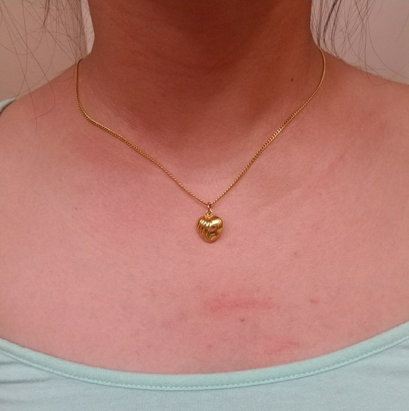 Saudi Gold Jewelry Solid 18k Yellow Gold With Heart Pendant Poshmark
